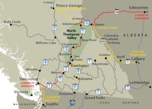 North Thompson Valley in map of Western Canada